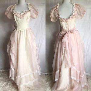 Gunne Sax vintage dress pink Swiss dot prairie 70s